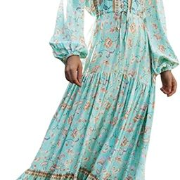 R.Vivimos Women's Long Sleeve Cotton V-Neck Button Up Floral Print Boho Flowy Midi Dresses | Amazon (US)