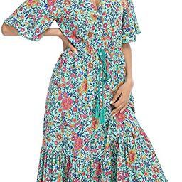 R.Vivimos Womens Summer Cotton Short Sleeve V Neck Floral Print Casual Bohemian Midi Dresses | Amazon (US)