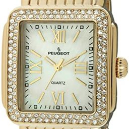 Peugeot Women Rectangle Dress Watch with Crystal Decorated Bezel, Roman Numerals and Bracelet | Amazon (US)