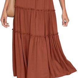 HAEOF Women's Boho Elastic High Waist A Line Ruffle Swing Beach Maxi Skirt with Pockets   Amazon (US)