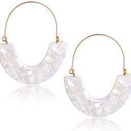 CEALXHENY Acrylic Earrings Tortoise Hoop Earrings Statement Wire Resin Earrings Fan Drop Dangle E... | Amazon (US)