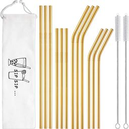 Hiware 12-Pack Gold Stainless Steel Straws Reusable with Case - Metal Drinking Straws for 30oz & ... | Amazon (US)
