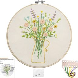 Embroidery Kits with Colorful Flower and Plant Designs; Embroidery Starter Sets with Patterns –... | Amazon (US)