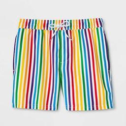 Pride Gender Inclusive Adult Striped Rainbow Swim Trunks   Target
