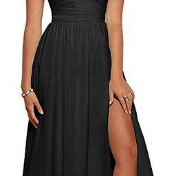 yinyyinhs Slit Bridesmaid Dresses Long V Neck Chiffon Pleated Evening Prom Dress   Amazon (US)