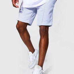 Slim Dogtooth Jacquard Pintuck Shorts   boohooMAN (DE, IE & UK)