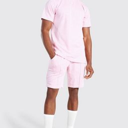 Jacquard Dogtooth T-shirt & Short Set   boohooMAN (DE, IE & UK)