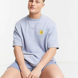 ASOS DESIGN knitted co-ord t-shirt with embroidered sun in pale blue   ASOS (Global)