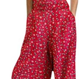 Women's Backless Linen Jumpsuits Sexy Wide Leg Palazzo Pants Floral Suspender Rompers Comfy Butto...   Amazon (CA)