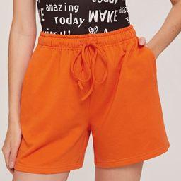 SHEIN Neon Orange Drawstring Waist Shorts | SHEIN