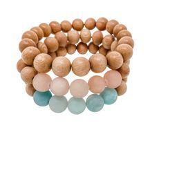 rosewood beaded bracelets   aqua, pink, rosewood   three   Reef rain aria