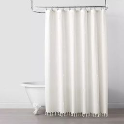 Clip Stitch Knotted Fringe Shower Curtain Sour Cream - Hearth & Hand™ with Magnolia | Target