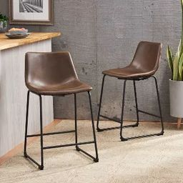 Set of 2 Cedric Counter Height Barstool Vintage Brown - Christopher Knight Home | Target