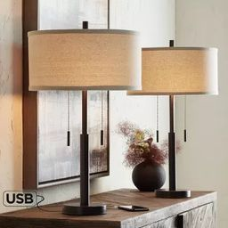 Franklin Iron Works Industrial Table Lamps Set of 2 with Hotel Style USB Charging Port Rich Bronz... | Target