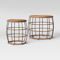 2pc Southport Nesting Patio Coffee & End Table Black/Brown - Opalhouse™   Target