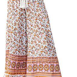 Miessial Women's Summer Boho Tie Waist Pants Loose Wide Leg Beach Hippie Pants with Tassel   Amazon (US)