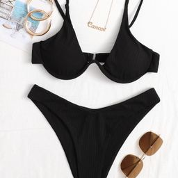 Rib Underwire High Leg Bikini Swimsuit | SHEIN