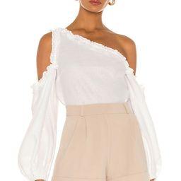 SELMACILEK One Off Shoulder Blouse in White from Revolve.com   Revolve Clothing (Global)