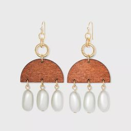 Semi-Circle Wood and Glass Pearl Drop Earrings - A New Day™ Gold | Target