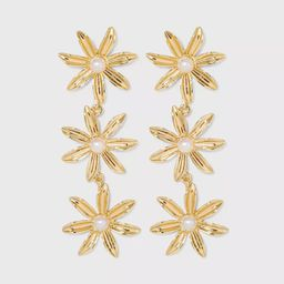 SUGARFIX by BaubleBar Stacked Flower Drop Earrings - Gold | Target