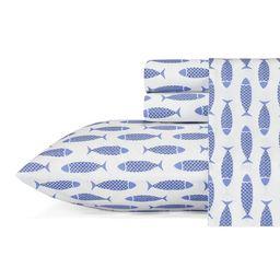 Woodblock Fish 200 Thread Count 100% Cotton Percale Sheet Set   Wayfair North America