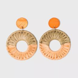 Shell Disc Post with Woven Raffia Drop Earrings - A New Day™ | Target