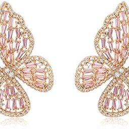 Silove Elegant Stud Butterfly Earrings for Women Girls Silver Multicolor Cubic Zirconia Earrings ...   Amazon (US)
