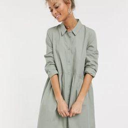 ASOS DESIGN cotton mini smock shirt dress in khaki   ASOS (Global)