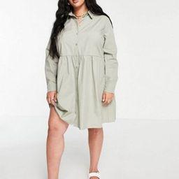 ASOS DESIGN Curve cotton mini smock shirt dress in khaki   ASOS (Global)