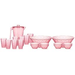 20-Piece Rose Plastic Polystyrene Pitcher, Cups and Bowls Plastic Dinnerware Set | The Home Depot