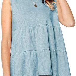 Defal Women's Summer Short Sleeve Loose T Shirt High Low Hem Babydoll Peplum Tops | Amazon (US)
