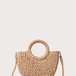 Round Handle Straw Bag   SHEIN