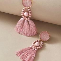 1pair Tassel Decor Beaded Drop Earrings   SHEIN