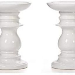 Hosley Set of 2 Ceramic White Pillar Candle Holders 6 Inch High Ideal for LED and Pillar Candles ... | Amazon (US)