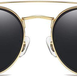 JIM HALO Small Polarized Round Sunglasses for Women Vintage Double Bridge Frame | Amazon (US)