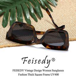 FEISEDY Classic Women Sunglasses Fashion Thick Square Frame UV400 B2471   Amazon (US)