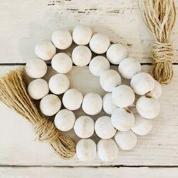 White Distressed Wood Bead Garland   Etsy (US)