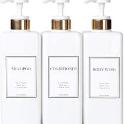 HARRA HOME Modern Gold Design Pump Bottle Set 27 oz Refillable Shampoo and Conditioner Dispenser ...   Amazon (US)