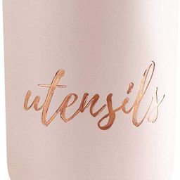 Pink and Copper Utensil Holder for Countertop - Pink Utensil Holder for Pink Kitchen Decor & Pink...   Amazon (US)