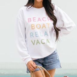 Beach Boat Relax White Corded Sweatshirt   The Mint Julep Boutique