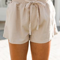Everyday Happiness Khaki Brown Linen Shorts   The Mint Julep Boutique