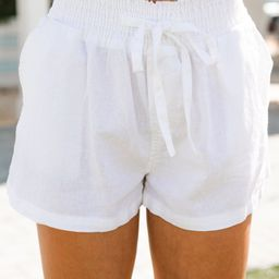 Everyday Happiness White Linen Shorts   The Mint Julep Boutique