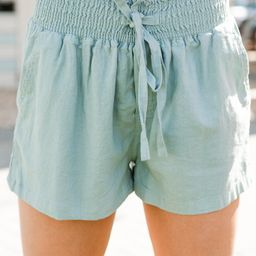 Everyday Happiness Mint Blue Linen Shorts   The Mint Julep Boutique