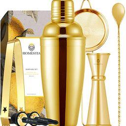 Homestia Gold Cocktail Shaker Set Bartender Kit Stainless Steel 24oz Martini Shaker, Muddle Spoon...   Amazon (US)