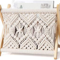 Mkono Macrame Magazine Rack Small Boho Magazine Holder Storage Standing Basket for Books, Newspap...   Amazon (US)