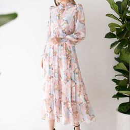 Pink Lily Blossom Chiffon Maxi Dress | Chicwish