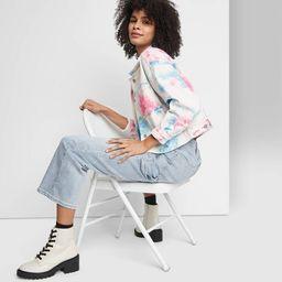 Women's Denim Cropped Jacket - Wild Fable™ Blue/Pink Tie-Dye | Target