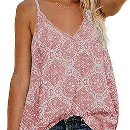 TECREW Women's Button Down V Neck Spaghetti Straps Tank Top Casual Sleeveless Summer Shirts Blous... | Amazon (US)