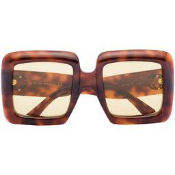 Gucci Eyewear Havana square-frame Sunglasses - Farfetch | Farfetch (US)