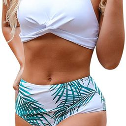 Blooming Jelly Women's High Waisted Bikini Twist Two Piece Swimsuit High Neck Knotted Leaf Print ... | Amazon (US)